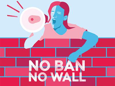 No Ban, No Wall megaphone editorial-illustration politics america vector illustration political