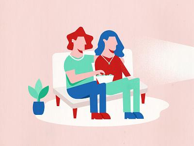 girls' night in sofa girls daughter mother teal blue peach illustration vector minimal