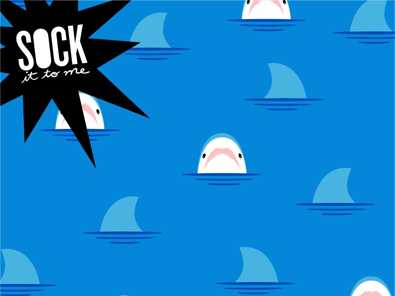 Sock it to me - Shark attack blue sea shark cute competition art design icon flat illustration vector illustrator simple pattern minimal ui kawaii graphic contest socks