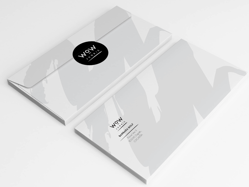 Wow Junkie Branding - envelope identity letter minimal black and white beauty wow cosmetics fashion icon brush lettering typography illustration ui design vector visual  identity branding logo print