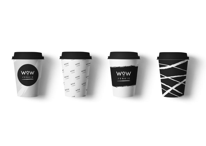 Wow Junkie Branding - coffee2go coffee cups print logo branding visual  identity design ui illustration typography lettering brush icon fashion cosmetics wow beauty black and white minimal identity