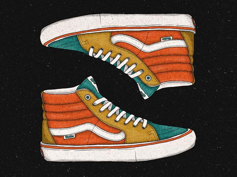 Vans ink procreate pattern wallpaper illustration laces shoes primary colors muted vintage retro truegrittexturesupply halftone texture ride skateboard skate vans