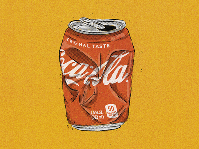 Coca-Cola type lettering illustration crushed print beverage vintage retro textures halftone comic texture soda pop soft drink drink can coke coca-cola cocacola
