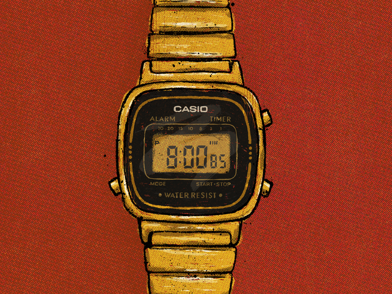 Casio Watch wristband clock handlettering lettering truegrittexturesupply halftones comic texture illustration procreate time old retro casio vintage watch wristwatch