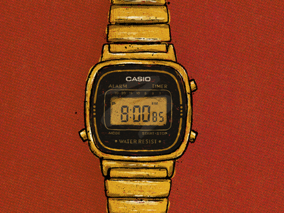 Casio Watch wristband clock handlettering lettering truegrittexturesupply halftones comic texture illustration procreate time old retro casio vintage watch wristwatch