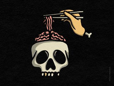 Spooky Noods paper skeleton bones gold tooth food noods noodles spooky retro vintage texture hands hand chopsticks brain halloween skull