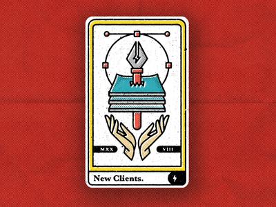 Tarot: New Clients hands paper pen new clients logo freelance illustration card branding tarot