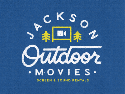 Jackson Outdoor Movies texture retro lettering jackson camping drive in logo trees explore outdoors movie
