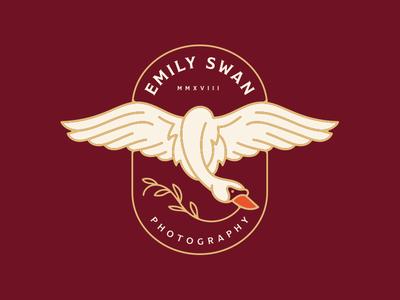 Emily Swan Photography Logo wings fly plant badge bird flying animal swan brand logo