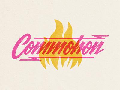 Commotion overlay texture lightening lightening bolt commotion lettering fire script
