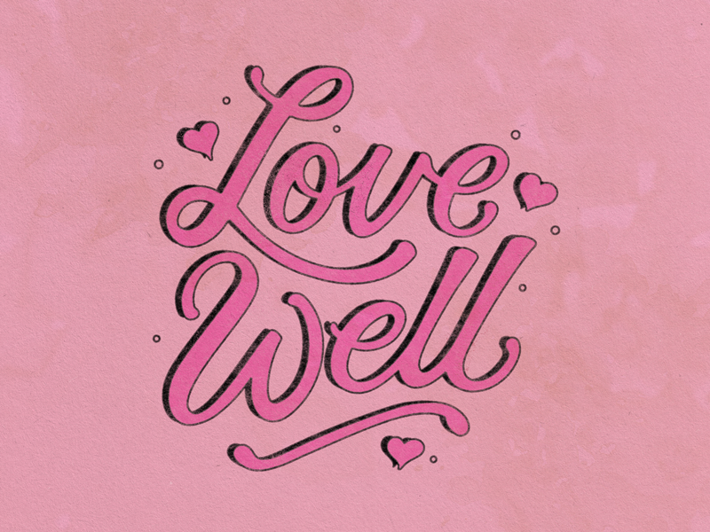 Love Well love is love print paper pink 90s valentine day valentine card well love hand lettering type illustration texture lettering