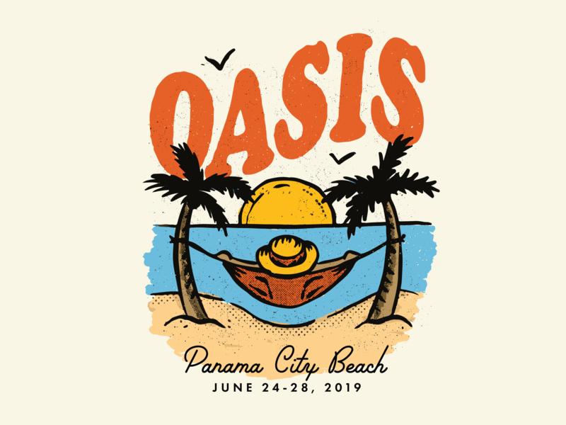 Oasis 2019 summer birds sun palm trees relax mid century retro texture illustration hammock beach oasis