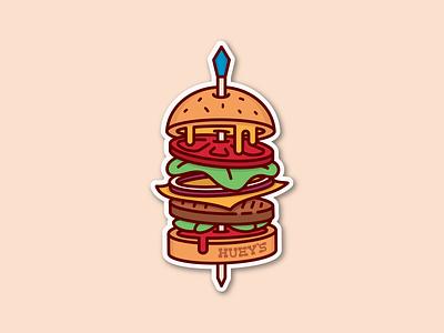 Huey's Burger local restaurant cheese pickles mustard mayo lettuce toothpick food cheeseburger burger hueys