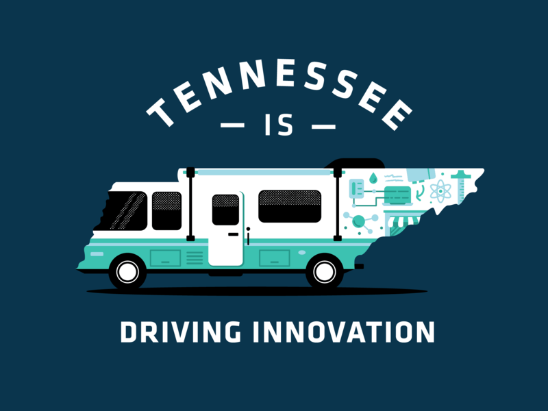 TN is Driving Innovation tennessee entrepreneur education stem icons trailer bus explore travel camping rv illustration