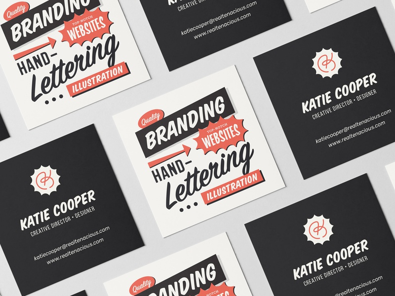 Katie Cooper Business Card print personal brand black red 20s 50s retro vintage creative webdesign lettering logo lettering branding business card businesscard