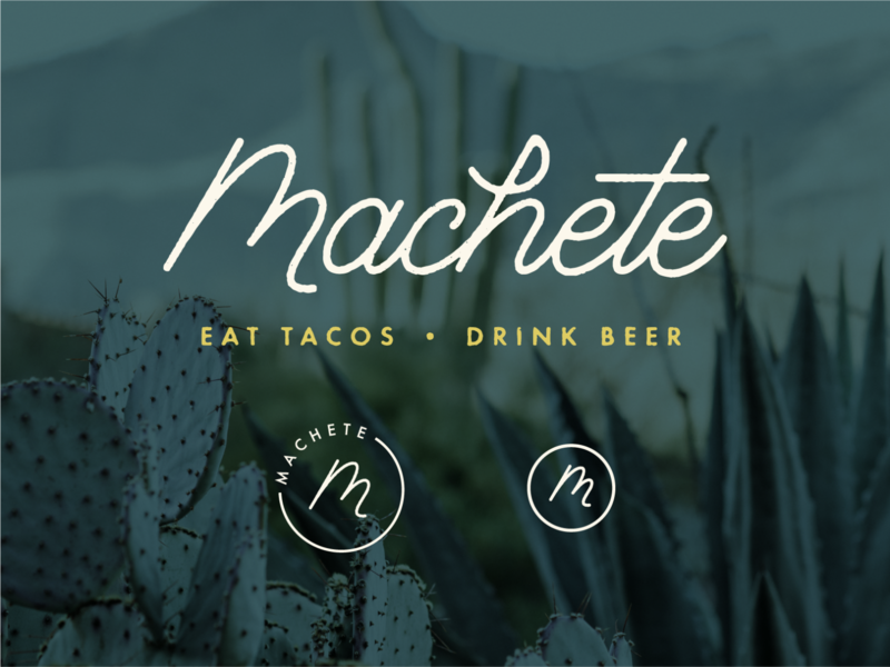 Machete authentic california m taco icon agave cactus restaurant logo restaurant mexican food mexican restaurant beer tacos script vector logo hand lettering texture lettering