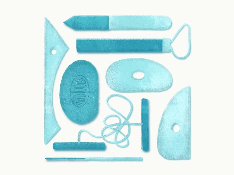 Pottery Tools retro trimbo wood sponge brushes procreate halftone texture illustration pottery tools tools clay ceramics pottery