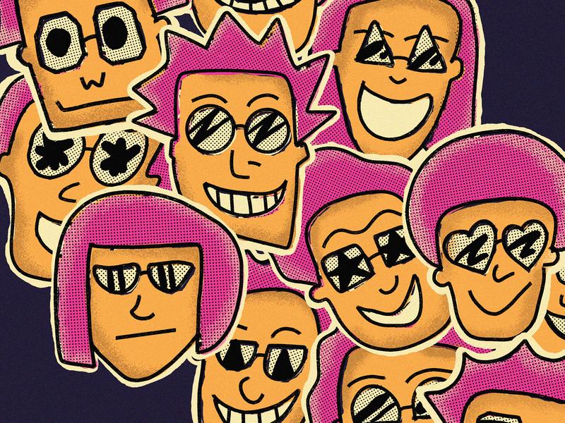 Rock Stickers expressions faces human people face portrait procreate magenta purple retro retro supply texture halftone orange illustration glasses sunglasses rocket rockstar