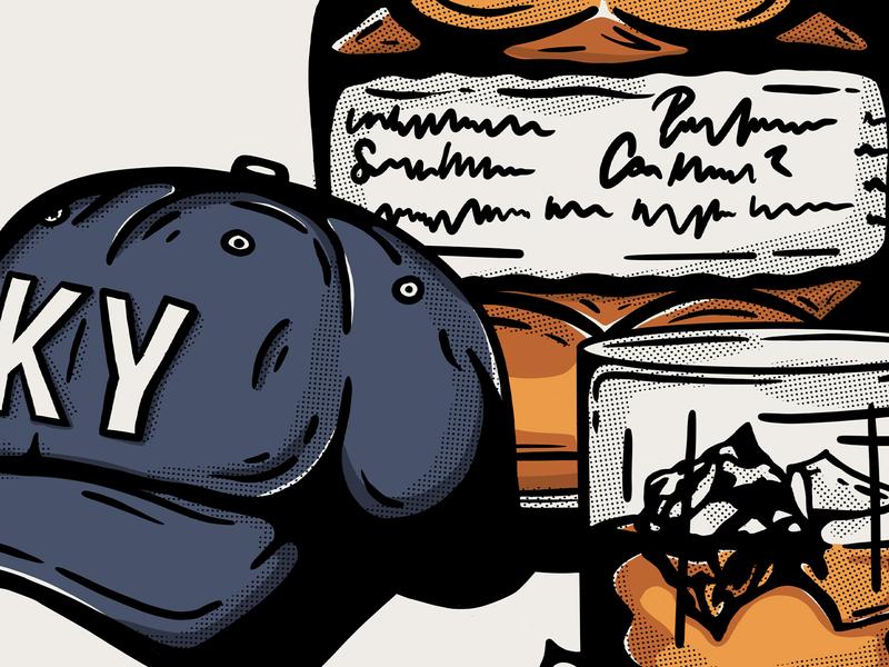 When You Think of Home: Kentucky wildcats bluegrass illustration halftone texture alcohol drink glass cap baseball cap hat ky retro vingate blantons bourbon whiskey kentucky
