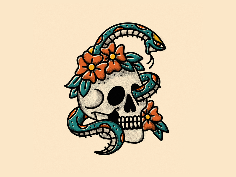 Snake Skull person human head gold teal paper old vintage retro floral flower snake skull texture american traditional tattoo