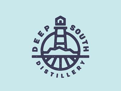 Deep South Distillery logo design circular badge minimal line designs lighthouse distillery
