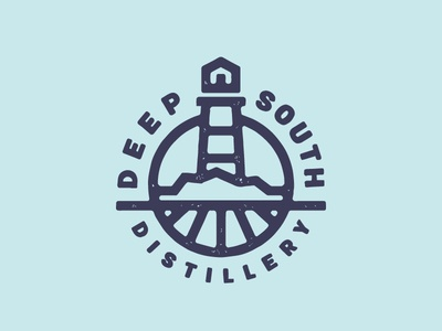 Deep South Distillery logo design circular badge minimal line designs lighthouse distillery