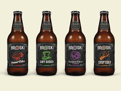 Broski Ciderworks victorian era steampunk label design label concept labels broski ciderworks cider broski