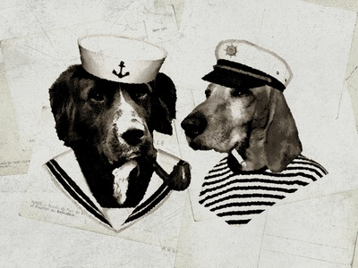 Sailor Dogs sea life salty dogs photo mockup postcard vintage illustration dogs sailors sailor dogs