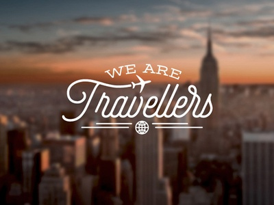 We Are Travellers logo design vintage selfie font typography travel agency airplane globe world travels we are travellers