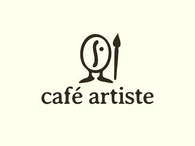 Café  Artiste smart logo literal logo design cafe artist artists coffee café café artiste