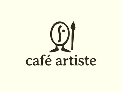 Café  Artiste smart logo literal logo design cafe artist artists coffee café café artiste