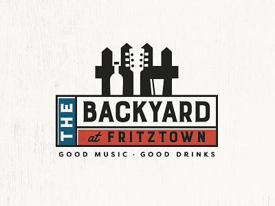 Backyard At Fritztown negative space logo design music and drinks music pub austin texas fredericksburg fritztown backyard
