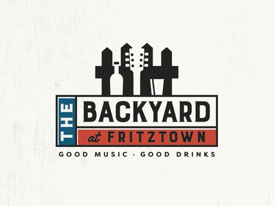 Backyard At Fritztown negative space logo design music and drinks music pub austin texas fredericksburg fritztown backyard