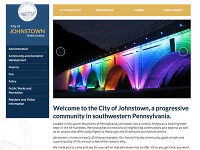 City of Johnstown Website website responsive bootstrap