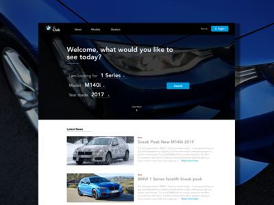 Motor club ecommerce concept page