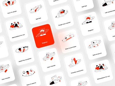 Illustrations of Art X eCommerce app ios app design ux ui showcase presentation mobile ui design simple black red icon minimal modern lineal application mobile app vector illustration illustrations ecommerce ecommerce app