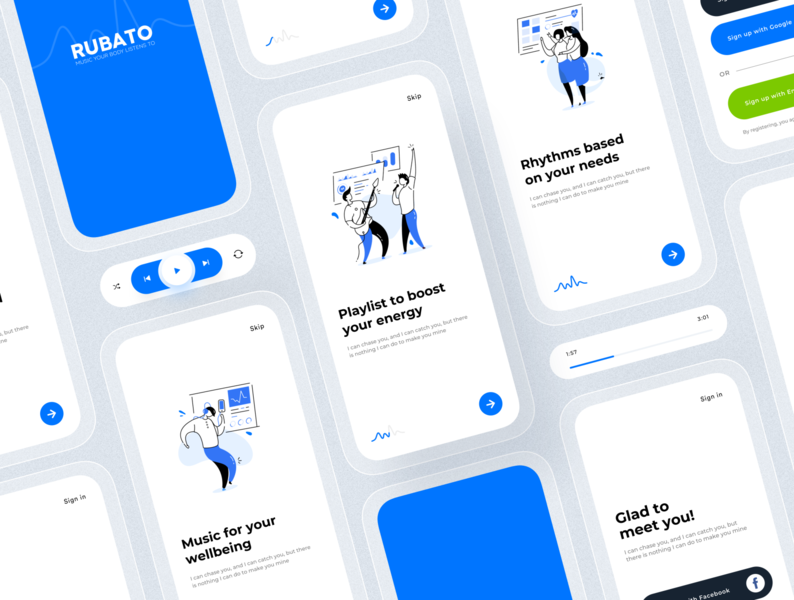 Biometrical music recommendation app (onboarding screens) onboarding screen components application ui app clean ui uxui application modern design lineal illustration sign in welcome screen music recommendation ui design ux design minimalist ui mobile app biometrical app music app