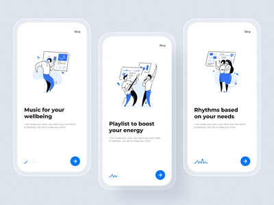 Rubato biometrical music recommendation app application ui illustration music app biometrical app clean ui ios minimal uxui ux tracking app onboarding screen app