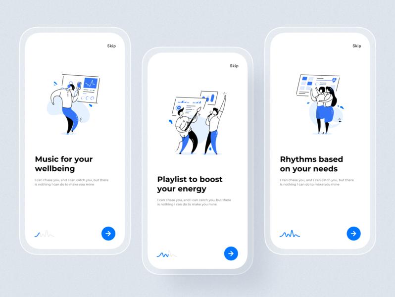 Onboarding biometrical music recommendation app application ui illustration music app biometrical app clean ui ios minimal uxui ux tracking app onboarding screen app