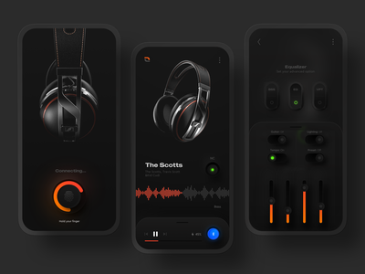 Headphone controller app uiux ux ui skeuomorphism skeuomorph shadow neumorphism neumorphic neue mobile design minimal headphone design dark ui controller colors biometric application design application app