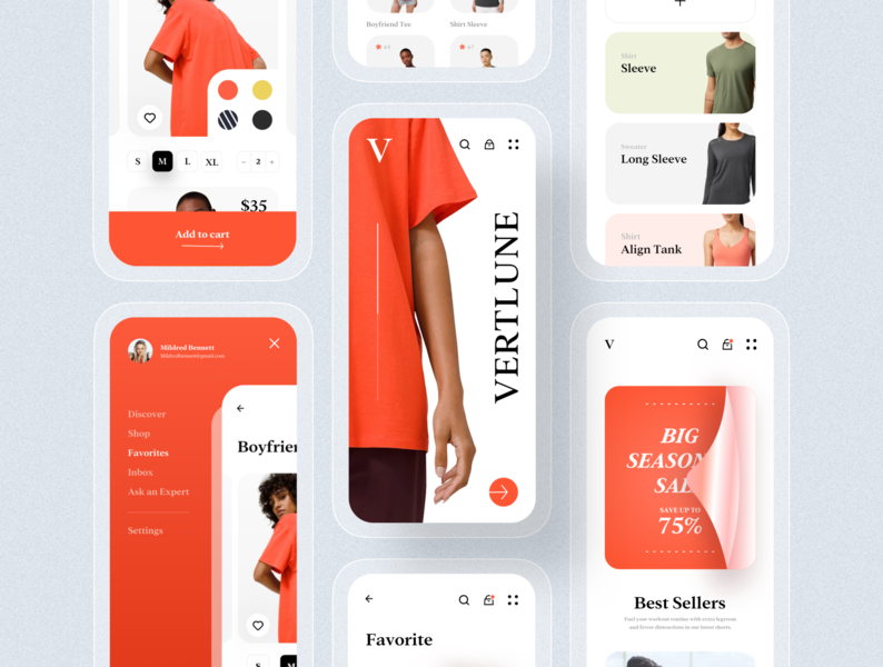 Vertlune eCommerce app application ui clean ui red design userfriendly applicaiton ios mobile app application ui8 clean design uikits uiux ux ui online shopping ecommerce brand clothing