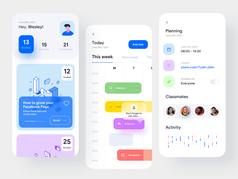 Course app application design clean ui ios app lesson task activity location meeting planner illustraion uidesign uxdesign ux ui mobile design mobile ui courses course app