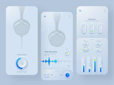 Headphone controller app (white version) uiux ux ui skeuomorphism skeuomorph shadow neumorphism neumorphic neue mobile design minimal headphone dark ui controller clean ui app design application design application app