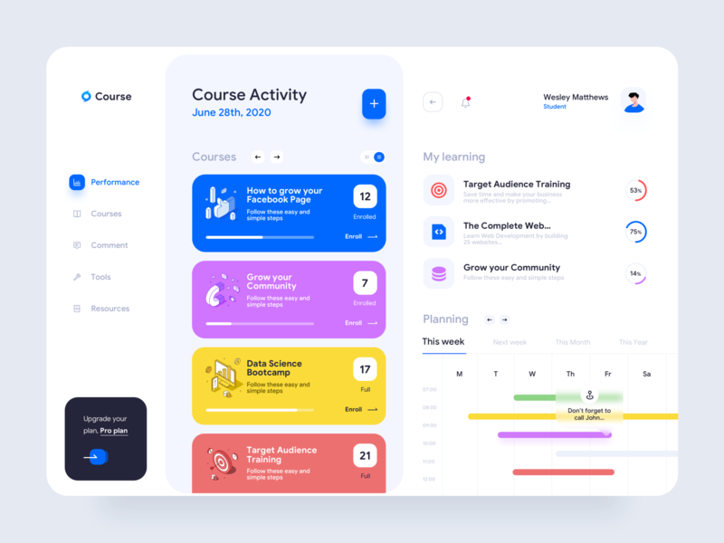 Course web app dashboard learning illustrations desktop application app design activity resources tools performance design planner task progress meeting courses minimal clean ui ux ui web app