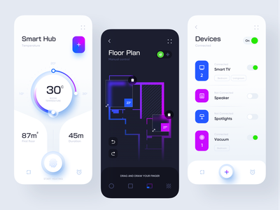Smart Hub Application design design minimal consumption home thermostat switch fingerprint smart neumorphic clean ui devices floorplan smarthome application design app mobile app uiux ux ui