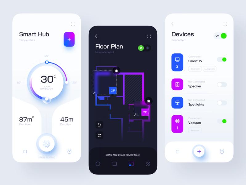 Smart Hub Application design design minimal consumption home thermostat switch fingerprint smart neumorphic clean ui devices floorplan smarthome application design app mobile app uiux ux ui