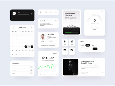 Insurance app UI Components component uiux upload app labels icon planner score graphic clean ui web app mobile app insurance app ui cards motion interaction micro interaction components ux ui