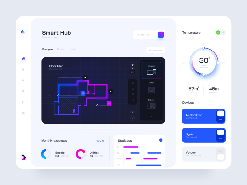 Smart Hub Web Application Design mobile app control panel control statistics clean ui thermostat design application website ui ux web app smart neumorphic devices smarthome home minimal floorplan dashboard