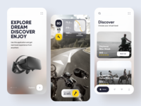 VR Travel App clean ui ar tracker gps map roadsign app design uiux horse motorcycle virtual reality travel user experience user interface application app mobile app vr