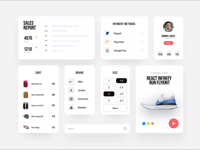 eCommerce app UI Components payments report ui ux ecommerce shoes ui cards components micro interaction interaction motion mobile app web app clean ui uiuxdesign graphic application app uiux component